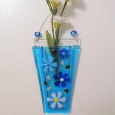 Fused Glass Wall Vase, Glass Flower Vase, Glass Wall Hanging Pocket, Blue and White Flowers on Turquoise, Glass Flowers Vase