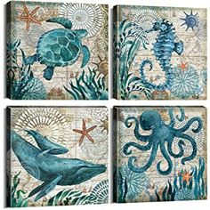 Wall Decor Bathroom Canvas Art for Living Room Home Decorations Kitchen Teal Ocean Sea Turtle Horse Octopus Pictures Poster Nautical Beach Theme Watercolor Paintings Bedroom Framed Set 4 Piece – Wanddekoration Bathroom Canvas Art, Canvas Wall Art, Wall Art Prints, Poster Prints, Canvas Prints, Bedroom Canvas, Artwork Wall, Beach Wall Art, Home Wall Art