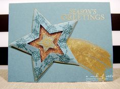 Stampin' Up! ... handmade card ... powder blue and gold ... luv the gold embossing on pale blue ... Bright and Beautiful stamped stars die cut with stars framelits ... glitter  in the center star cut-out space ... beautiful!!