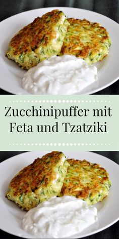 Tzatziki, Feta, Zucchini Puffer, Best Dishes, Quiche, Food And Drink, Low Carb, Vegetarian, Chicken