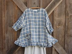linen tunic with flower pocket in blue plaid by linenclothing, $145.00
