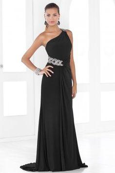 Ein-Schulter schwarzes bodenlanges Ballkleid/Abendkleid mit Perlen verziert