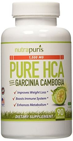 "1500mg 100% PURE HCA From Garcinia Cambogia - #1 Best Garcinia Cambogia Extract Pure Capsule With The HIGHEST LEVEL OF PROVEN HCA - Effective Appetite Suppressant And Weight Loss Supplement That Works For Men And Women Of All Ages - 90 All Natural Made In The USA Vegetarian Safe Capsules - Includes The Famous ""100% Happiness Guarantee"" From Nutrapuris! Nutrapuris"