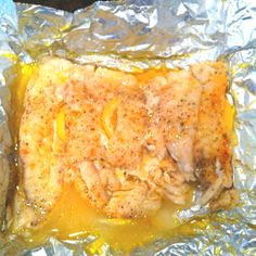 Fresh red snapper Little bit of cayenne pepper, black pepper, garlic salt, and a few lemon slices, drizzle some olive oil on top and wrap in foil. Cooked on the grill for about 10-15 mins or until done.. Very tasty and easy!