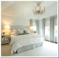 crystal chandeliers, headboard, blue walls, wall paint colors, blue bedrooms, master bedrooms, blues, bedroom designs, curtain