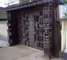 Africa | The elaborately carved door to the entrance of the Ethnographic museum in Benin.  © Jeff & Susan ~ 4n Traveller