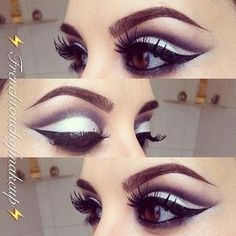 Black and white cut crease makeup