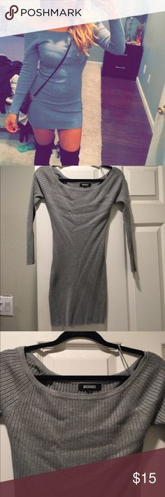Sweater dress Grey off the shoulder sweater dress. It is a U.K. Size 6 but I usually wear XS/ S Missguided Dresses Mini