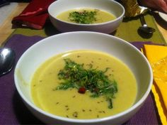 """""""Savoy Cabbage & Parmesan Skin Soup"""" from """"Plenty"""" by Yotam Ottonlenghi. Made Feb 2012. Verdict """"good"""" by The Frenchman, Easy, great way to use cabbage, no funky ingredients, everything in house. Nothing mind blowing - just a reliable, satisfying make-again recipe. Looks pretty w/ the topping too."""