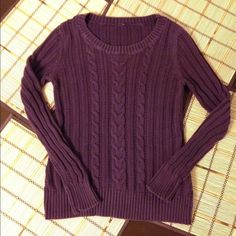 SALE - Purple Knitted Sweater Purple sweater, small size, 100% cotton. Price reflects signs of wear. Sweaters Crew & Scoop Necks
