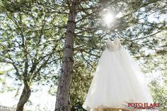 Wedding dress hanging in tree Woods Golf, What A Beautiful Day, Outdoor Ceremony, Golf Clubs, Wedding Dresses, Bride Dresses, Bridal Gowns, Wedding Dressses