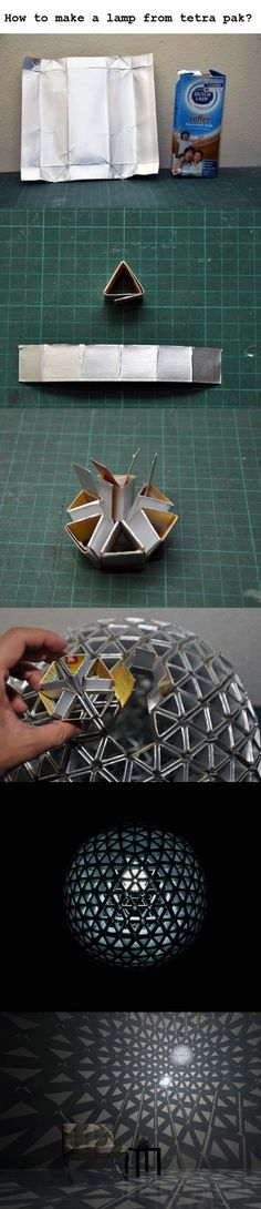 Luminária feita com embalagens de tetrapack - DIY: Tetrapack lamp