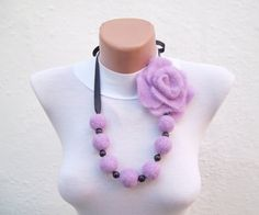 Felted Flower   Necklace Lilac  Winter Accessories Fall by nurlu