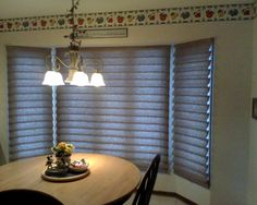 Window Treatment ideas, tips and advice Bow Window Treatments, Roman Shades, Blinds, Windows, Curtains, Home Decor, Decoration Home, Roman Blinds, Room Decor