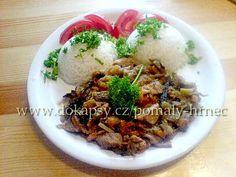 Vepřové nudličky v pomalém hrnci s čínskou zeleninou Russian Recipes, Crockpot, Slow Cooker, Recipies, Beef, Chicken, Food, Polish, Fine Dining