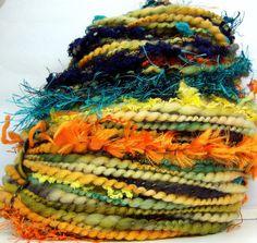 HandSpun Art Yarn merino wool Turquoise Parrot 78 by kittygrrlz, $52.00