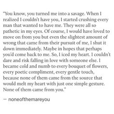 "Sad Love Quotes : QUOTATION – Image : Quotes Of the day – Life Quote I read that as ""you turned me into a sausage"" and as I kept reading I thought how the Hell does this make you into processed meat? Sharing is Caring Lyric Quotes, Poetry Quotes, Words Quotes, Wise Words, Sayings, Qoute, Sad Love Quotes, Quotes To Live By, Relationship Quotes"