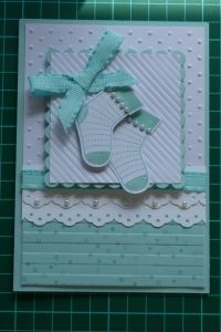 "Extra cute baby card using the Stampin' Up! ""Stitched Stockings"" stamp set by Tina Johnson."