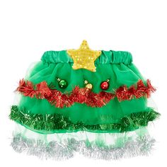 <P>Head to holiday parties in festive style wearing this tutu. The green tutu is trimmed in tinsel and decorated with metallic ornaments.A yellow sequin star adorns the waist. Press the button and the starlights up.</P><UL><LI>Available in sizes S/M and M/L <LI>Lights up <LI>100% Polyester <LI>Do not wash <LI>Imported</LI&am...