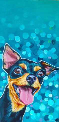 Happy Dog art, Contemporary art, Dog print, Chihuahua painting, Funny Friday… #DogPainting