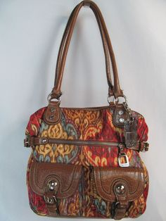 TYLER RODAN Large Aztec Ethnic Royal Print Tote Bag w Umbrella Handbag Purse #TylerRodan #ShoulderBag
