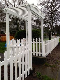 Custom arbor and picket fence. Custom arbor and picket fence. Garden Arbor, Garden Fencing, Lawn And Garden, Picket Fence Gate, White Picket Fence, Country Fences, Cottage Garden Plants, Backyard Projects, Fence Design