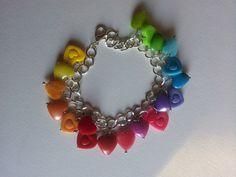 Rainbow hearts charms bracelet