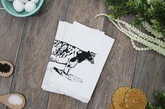 Farmhouse Cow Cotton Reusable Napkins - Set of 4