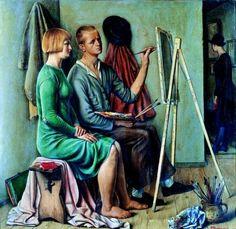 At atelier 1928 by François-Emile Barraud Harlem Renaissance, Artists And Models, New Artists, Gustav Klimt, Artist Art, Artist At Work, Musée National D'art Moderne, House Painter, 11. September