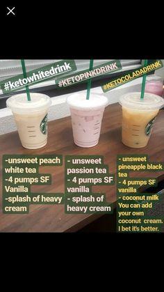 Keto Flu Smoothie- Kick the Keto Flu Faster with this Smoothie Healthy Starbucks Drinks, Yummy Drinks, Starbucks Tea, Healthy Fast Food Options, Low Carb Drinks, Starting Keto Diet, Keto Drink, Low Carb Diet, Keto Snacks
