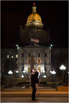 Plum Pretty Photography | Downtown Denver Engagement Photos | Nighttime Engagement Photos | OCF