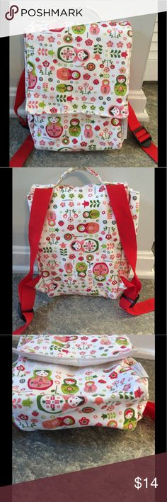 "Toddler or Preschool Backpack - matryoshka dolls Canvas with plastic liner inside.  Clean, no stains, no wear, no tears.  Adjustable straps.  8""X11"". Accessories Bags"