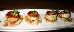 Pan Roasted Scallops, smoked tomato & sweet pea risotto are light dish bursting with caramelized flavor. Beauty and Essex