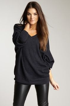 Black Leather Leggings & big slouchy sweater (dolman double-v sweater by Autumn Cashmere).