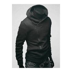 Long Sleeve Side Zip Up Plain Hoodie For Men ❤ liked on Polyvore featuring men's fashion, men's clothing, men's hoodies, mens hoodies and mens sweatshirts and hoodies
