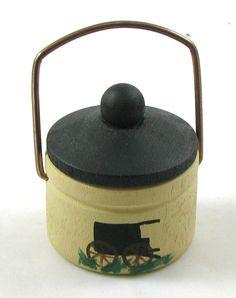 Miniature Painted Wood AMISH BUCKET Horse Buggy