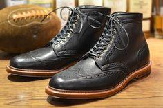 Alden Shoe – Barrie Wingtip Boot in Black Soft Calf