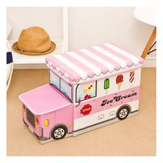 Toy storage for kids - pink ice cream truck Storage Stool, Toy Storage Boxes, Playroom Organization, Car Storage, Storage Baskets, Drawer Storage, Organization Ideas, Storage Ideas, Kids Clothes Organization