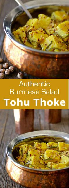 Chickpea tofu salad (tohu thoke) is a traditional Burmese salad that is prepared with chickpea-based tofu and a pungent and aromatic dressing. #burma #myanmar #196flavors