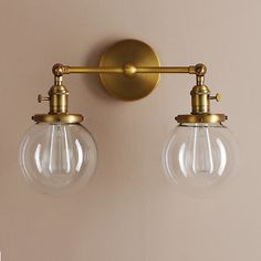 Permo Double Sconce Vintage Industrial Antique Wall Sconces with Dual Mini Round Clear Glass Globe Shade (Antique) Bathroom Light Fixtures, Bathroom Vanity Lighting, Wall Sconce Lighting, Home Lighting, Wall Sconces, Home Decor Bedroom, Master Bedroom, Downstairs Bathroom, Glass Globe