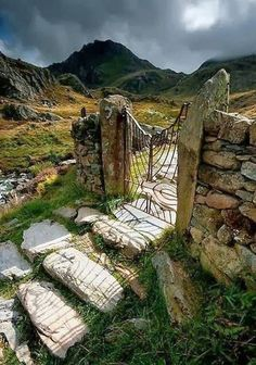 Gateway on a path around Llyn Idwal, a small lake in the Glyderau mountains of Snowdonia, Wales.
