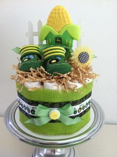 Green and Yellow John Deere Tractor Mini Diaper Cake - Baby Boy Shower Gift, Single Tier on Etsy, $35.00