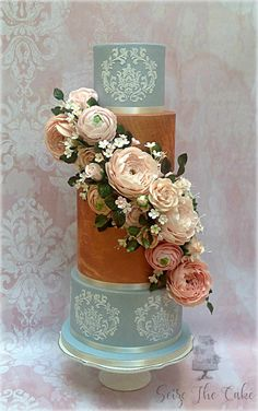 Wedding Cake in dusty blue and rose gold by Seize The Cake - http://cakesdecor.com/cakes/255003-wedding-cake-in-dusty-blue-and-rose-gold