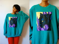 Vtg Panther Print Yellow Purple Black Teal Cotton by LuluTresors, $32.99