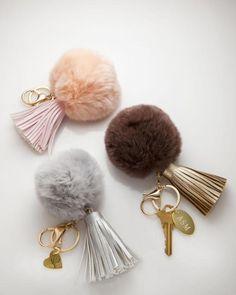 Pom Pom Keychain Personalized Leather by ShinyLittleBlessings
