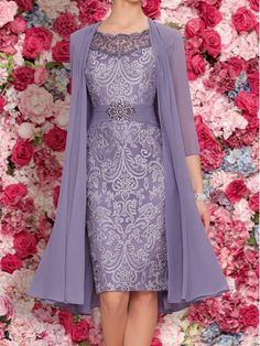 Elegant 3/4 Length Sleeves Beaded Lace Chiffon Knee Length Mother of The Bride Dresses 99605112