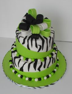 Zebra and lime green cake Pretty Cakes, Cute Cakes, Beautiful Cakes, Amazing Cakes, Fondant Cakes, Cupcake Cakes, Zebra Cakes, Torta Animal Print, Green Cake