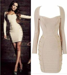 Womens Long Sleeve Studded Bandage Pencil Dress Celebrity Cocktail Evening Dress (Medium): Beauty