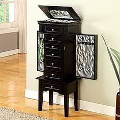 Black With Zebra Jewelry Armoire $129.99