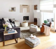 Contemporary Living Room Design Ideas With Colorful Sectional Sofa